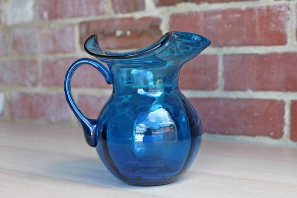 Small Blue Glass Pitcher with Dramatically Flared Rim