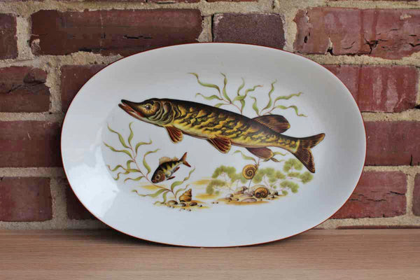 JKW Bavaria (West Germany) Transferware Platter with Underwater Fish Scene