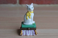 Midwest of Cannon Falls Porcelain Cat on Pillow Hinged Box