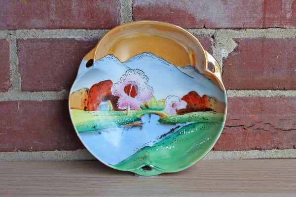 Hand Painted Lusterware Trinket or Candy Dish with Water and Mountain Landscape Scene