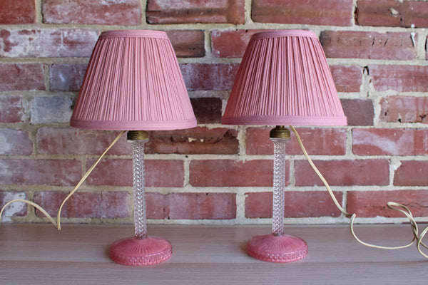Clear an Pink Glass Vanity Table Lamps with Matching Lampshades