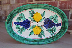 Dipinto a Mano Sorrecnto Italy Oval Ceramic Dish with Lemons and Blueberries