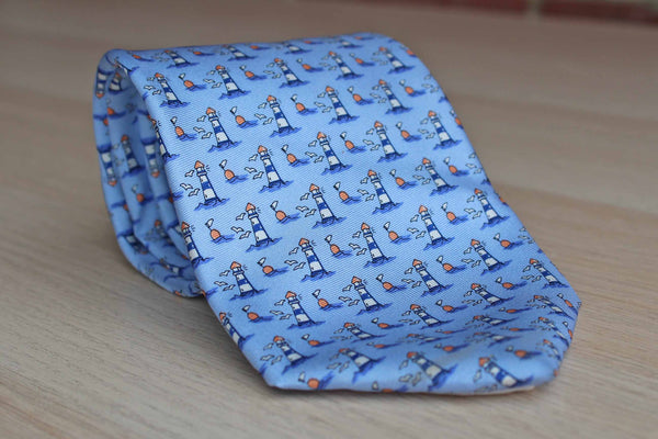 Brooks Brothers (New York, USA) Silk Necktie with Seagulls and Lighthouses