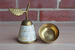 Pear Shaped Brass and Mother of Pearl Trinket Box