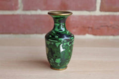 Brass and Enamel Bud Vase with Mother of Pearl Inlay