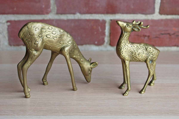 Brass Deer Figurines with Aged Patina