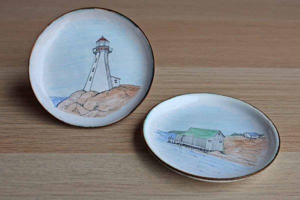 Hand-Painted Small Metal Plates with Nova Scotia Lighthouse and Fishing Shack, A Pair