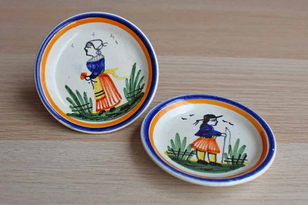 HB Henriot Quimper French Faience Small Plates, A Pair