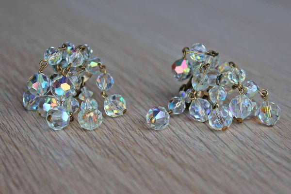 Aurora Borealis Beaded Cluster Clip-On Earrings