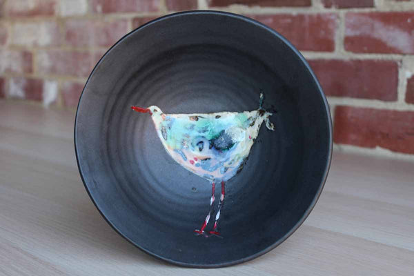 Handmade Black Ceramic Bowl with Colorfully-Painted Bird in the Center