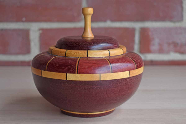 Hand Turned Lidded Wood Bowl with Patterned Inlays