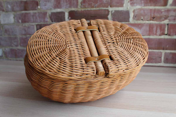 Handwoven Basket with Two Separate Storage Areas