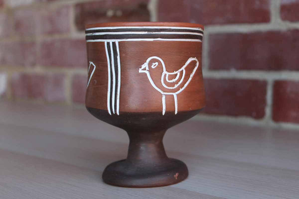 Handmade Ceramic Planter with Incised Primitive Bird Decorations