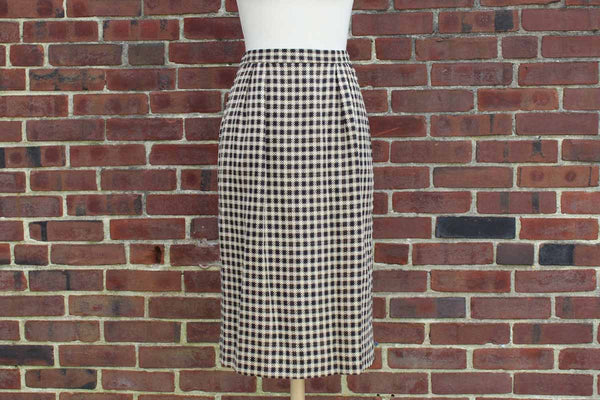 Wool Check Pencil Skirt, Size 10P