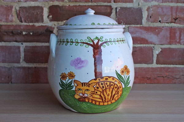 Zrike China (Portugal) Ceramic Lidded Cookie or Storage Jar Handpainted with a Lounding Cat Under a Tree