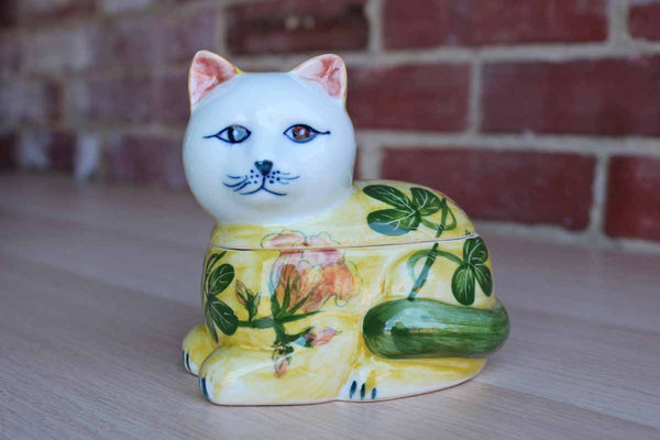 Colorful Lidded Ceramic Cat Trinket Box, Handcrafted in Thailand