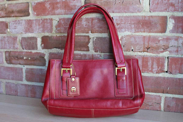 Etienne Aigner (New York, USA) Antic Red Leather Shoulder Bag