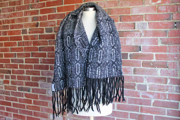 Long and Wide Black and White Wool Shawl with Narrow Oval Designs