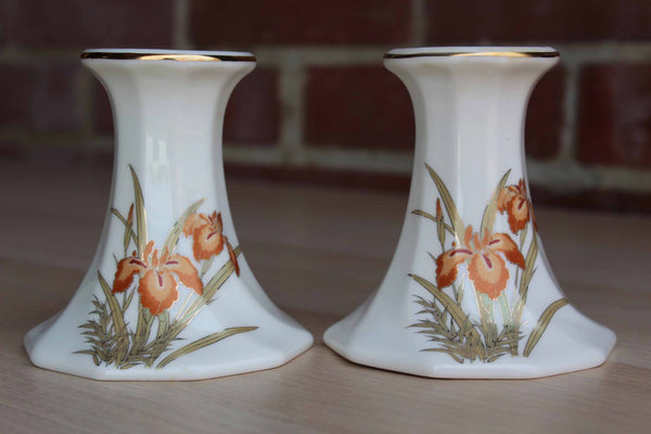 Fine China Japan Candlestick Holders with Orange Iris Flowers