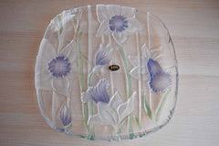 Crystal Clear Studios (Japan) Purple Frosted Glass Narcissus Platter