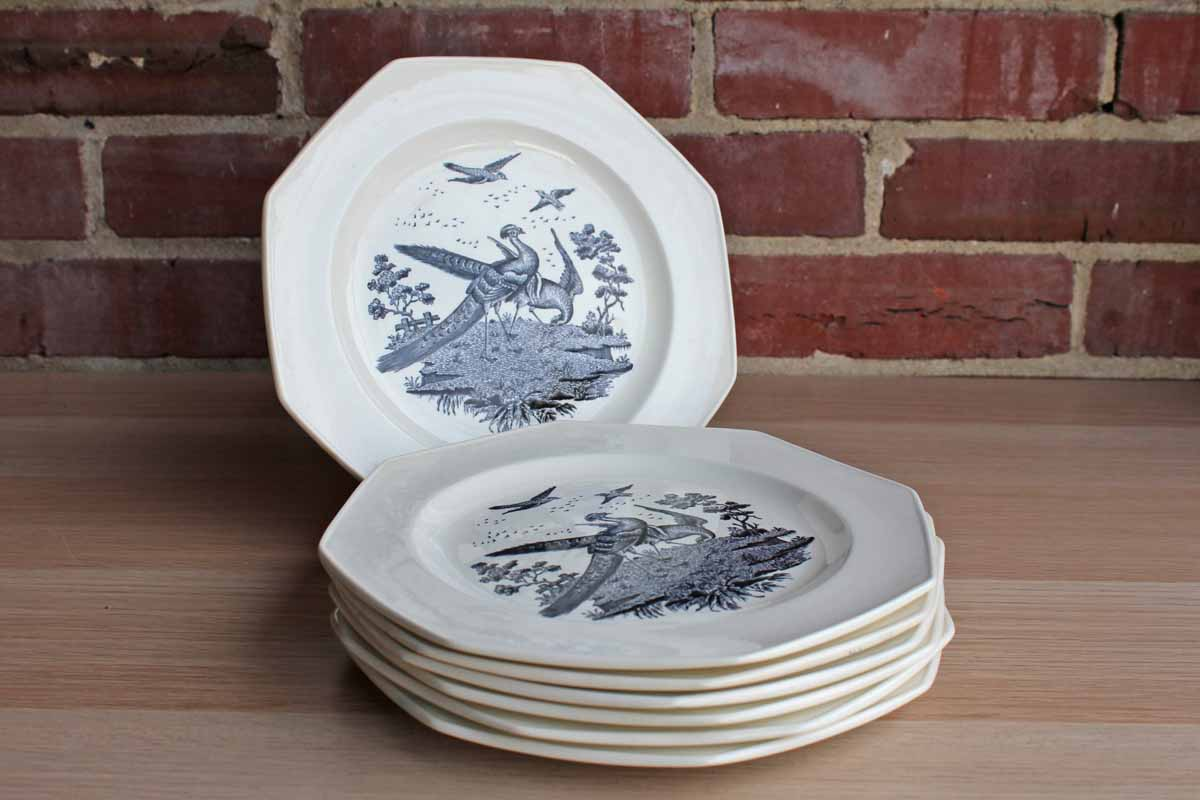 "Wedgwood (England) Liverpool Birds 8"" Octagonal Salad Plates, Set of 7"