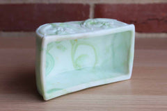 Akro Agate (West Virginia, USA) Green and White Slag Glass Daffodil Planter