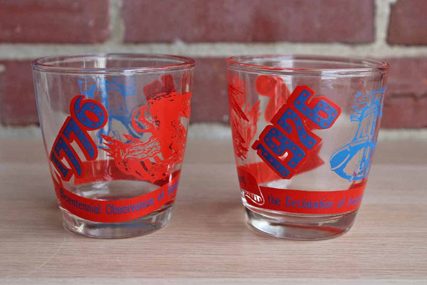 The Declaration of Independence 1776-1976 Bicentennial Celebration Drinking Glasses, Set of 2