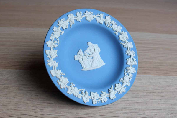 Wedgwood (England) Round Blue Jasperware Dish with Cupid as Oracle in Relief