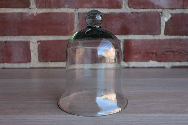Glass Cloche with Greenish Tint, Rounded Finial, and Gently Flared Base