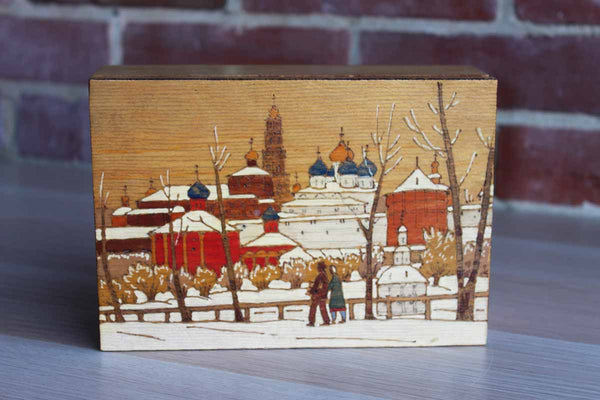 Wooden Box Decorated with a Hand Decorated Image of a European Cityscape in Winter