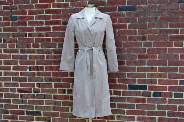 Gray Faux-Suede Lined Trench Coat, Made in Canada