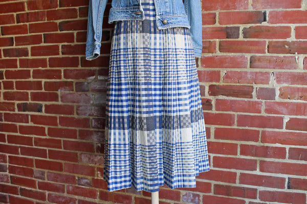 Panther Brand (Made in Greece) Wool Blend Long Pleated Plaid Skirt