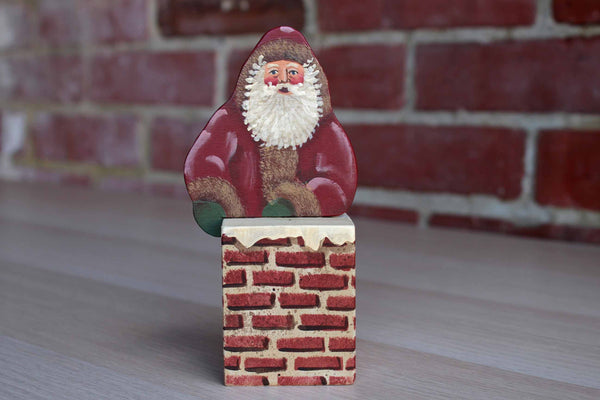 Little Wooden Handpainted Santa Coming Out of a Chimey