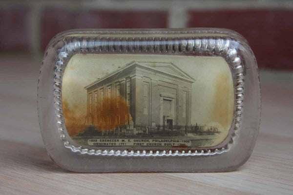 Ebenezer Methodist Church Philadelphia 1903 Glass Paperweight