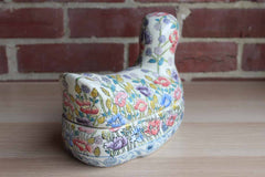 Flowered Ceramic Duck on Nest Lidded Container