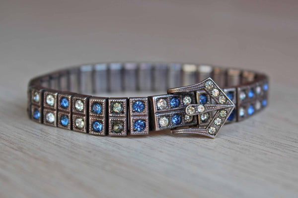 Blue and Silver Rhinestone Bracelet with Little Buckle Detailing