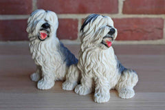 Italian Hand Painted Cast Resin Old English Sheepdog Figurines, A Pair