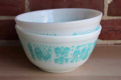 Corning Inc. (New York, USA) Pyrex Turquoise Butterprint 1.5 Quart Mixing Bowls, A Pair