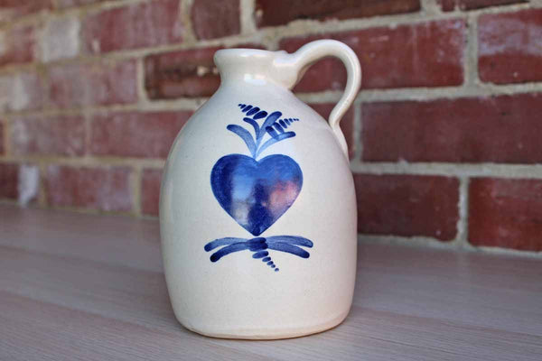 Stoneware Handled Drink Jug with Cobalt Blue Heart and Flower Design