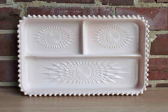 Jeannette Glass Company (Pennsylvania, USA) Shell Pink Embossed Milk Glass Vanity Tray