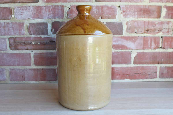 Large Primitive Salt-Glazed Brown and Tan Stoneware Jug