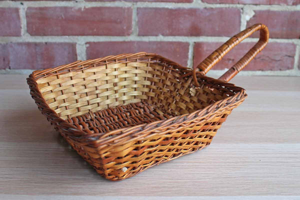 Hand Woven Square Loop Handled Basket