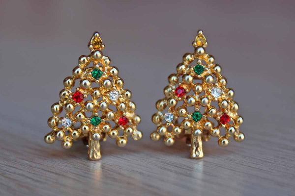 Gold Tone Christmas Tree-Shaped Non-Pierced Earrings with Colorful Rhinestones