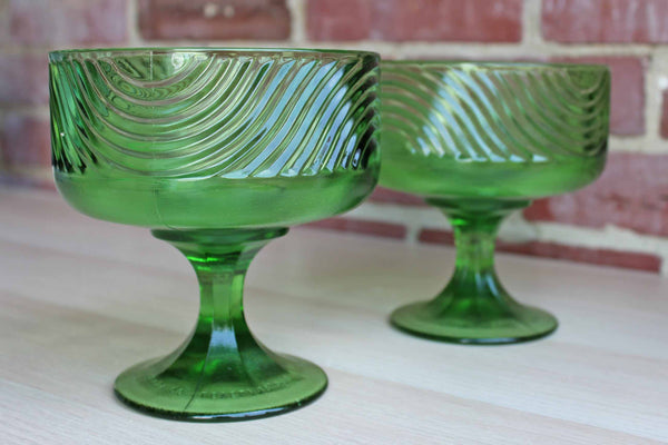 E.O. Brody Company (Ohio, USA) Green Glass Pedestal Bowls