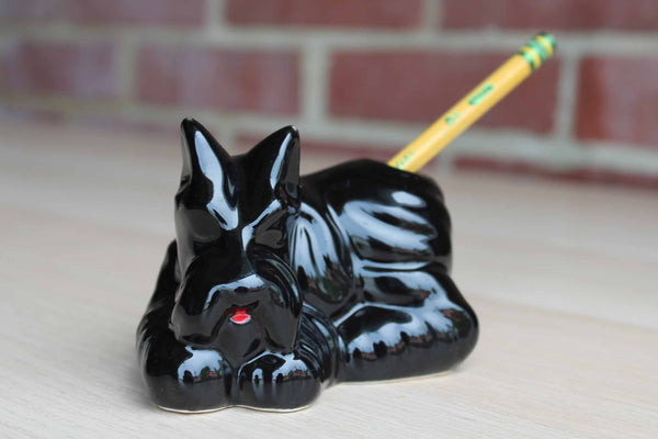 Ceramic Black Terrier Pen/Pencil Holder