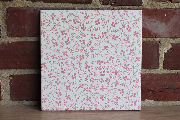 Large Ceramic Tile Decorated with Pink Scrolling Flowers and Leaves on White Background, Made in Italy