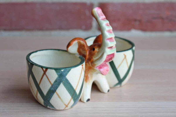 Ceramic Elephant Double Planter/Catchall