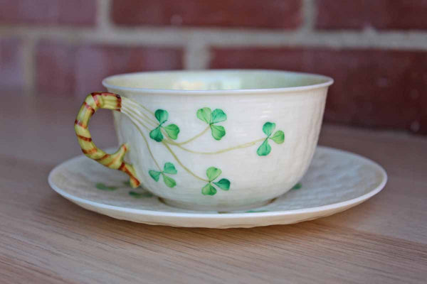 Belleek (Ireland) Porcelain Shamrock Cup with Saucer Set