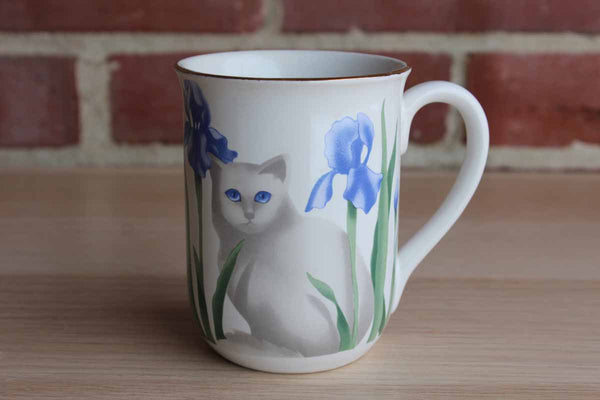 Elizabeth King Brown for Otagiri Ceramic Mug Decorated with a Cat Amidst Purple Irises