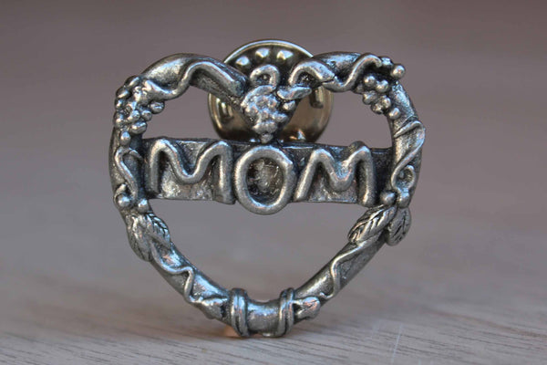 "H. Adams Heart-Shaped Pewter ""Mom"" Lapel Pin"